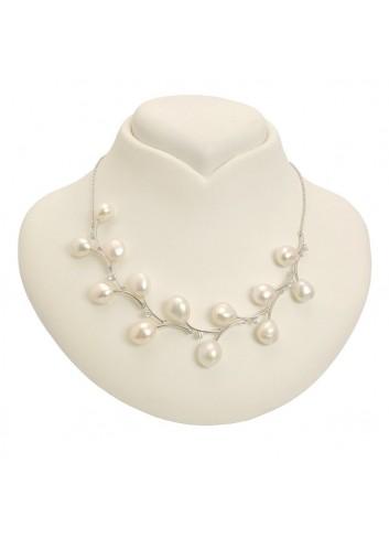 Srebrny naszyjnik z perłami i cyrkoniami NIHL45S
