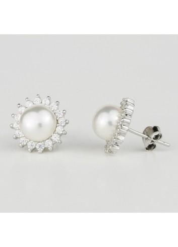 Srebrne kolczyki z perłą Biwa K1859S