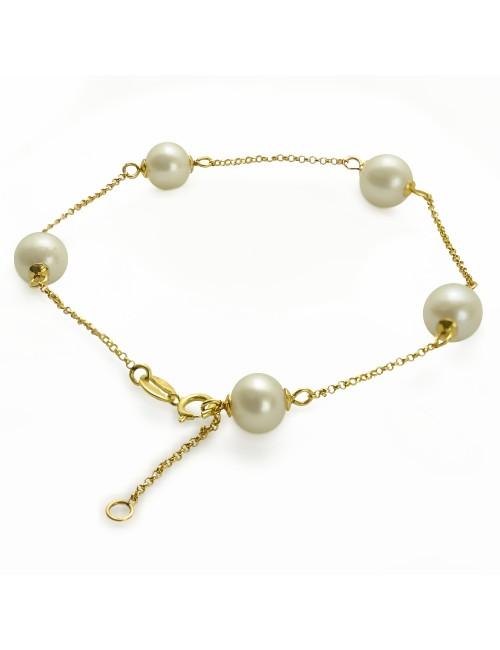 Złota bransoleta z perłami BO89GCH