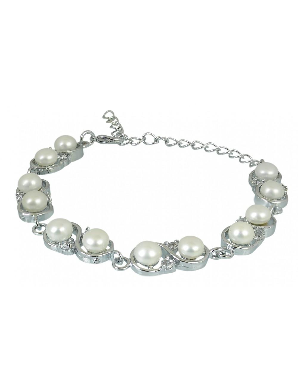 Bransoleta z perłami - rodowana BR04